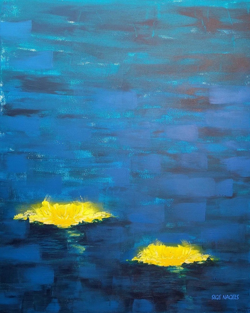THE RIVER - Acrylic, size 80x 100cm, titled 'The crazy morning' – November 20, 2016
