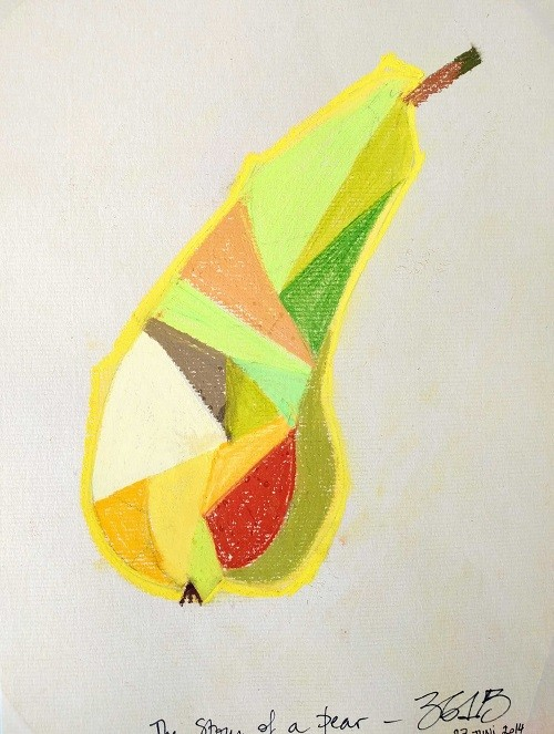 THE STORY OF THE FRUITS - Soft pastel, size 210× 297mm, titled 'The story of a pear' – June 27, 2014