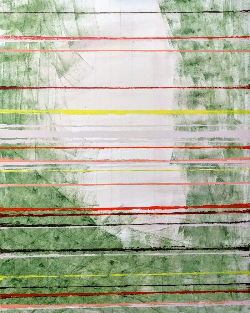 ABSTRACT OR PERSPECTIVE COMPOSITIONS - Acrylic, size 80x 100 cm, titled 'Rank in green and white', November 2, 2017