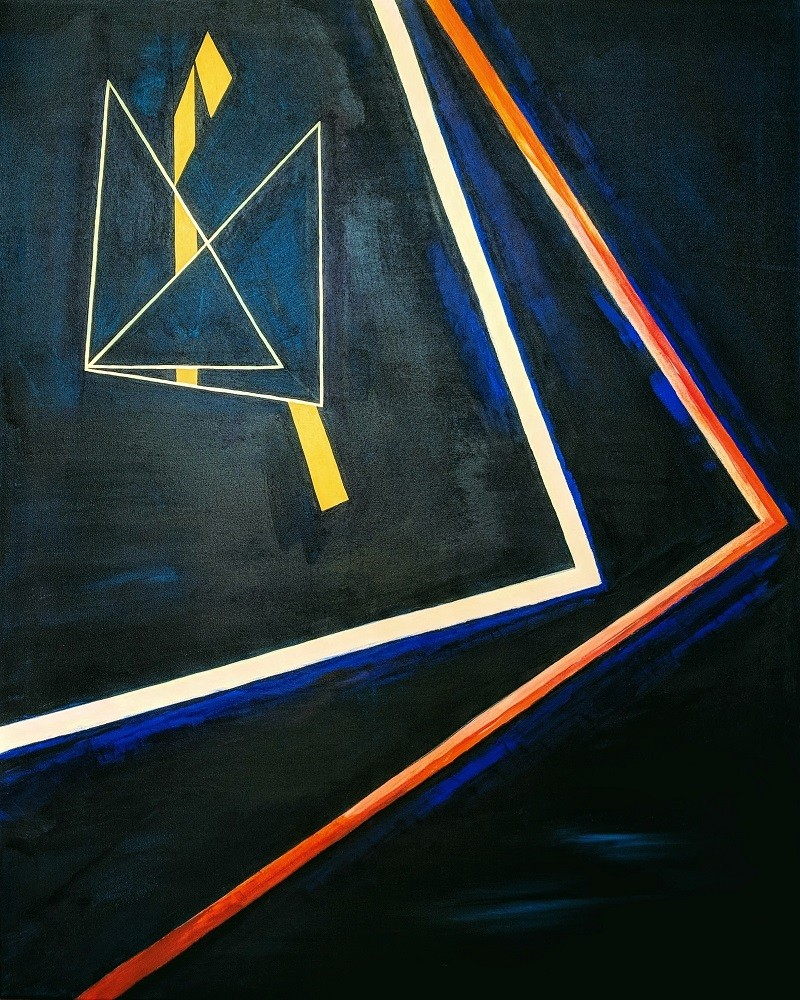 Acryl und Mixed Media, Titel: 'Composition in Blue', 80x100cm cm, 21. June 2018, Künstlerin Sige Nagels: Acryl auf Nachhaltigen Leinwand auf Keilrahmen aus Europaïscher Holz.