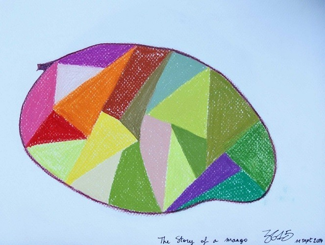 THE STORY OF THE FRUITS - Oil and soft pastel, size 210× 297mm, titled 'The story of a mango' – September 11, 2014