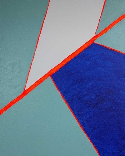 ABSTRACT OR PERSPECTIVE COMPOSITIONS - Acrylic, size 40x 50cm, titled 'Blattader' – February 2014