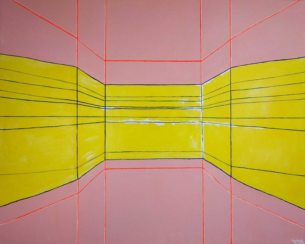 ABSTRACT OR PERSPECTIVE COMPOSITIONS - Acrylic, size 100x 80cm, titled 'Perspective composition 1' – March 17, 2016