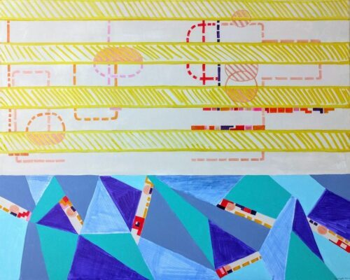 Acryl, Titel: 'Coastline', 100x80cm, 18. Januar 2018, Künstlerin Sige Nagels: Mischtechnik, Acryl, Markierer, Bleistift, Aquarelltechnik auf Keilrahmen aus europaïscher Holz