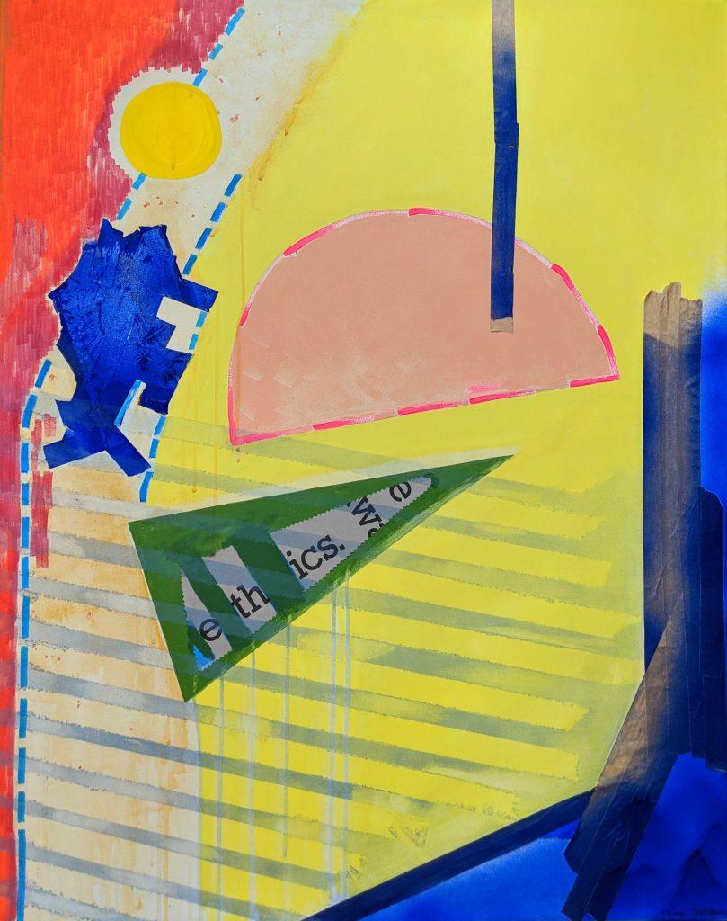 Acryl und Mixed Media, Titel: 'Ticket to birth', 80x100cm, 7. Dezember 2018, Künstlerin Sige Nagels: Mischtechnik, Acryl, Markierer, Papier, Klebeband, Bleistift, Sprühfarbe, Aquarelltechnik auf Keilrahmen aus europaïscher Holz.