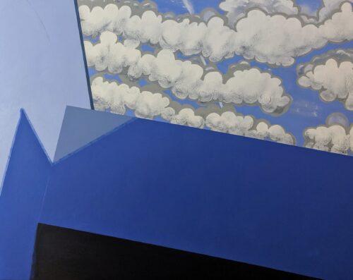 Acryl, Titel: ' Composition in Blau mit Wolken', 100x80cm cm, 18. July 2019, Künstlerin Sige Nagels: Acryl auf Nachhaltigen Leinwand auf Keilrahmen aus Europaïscher Holz.