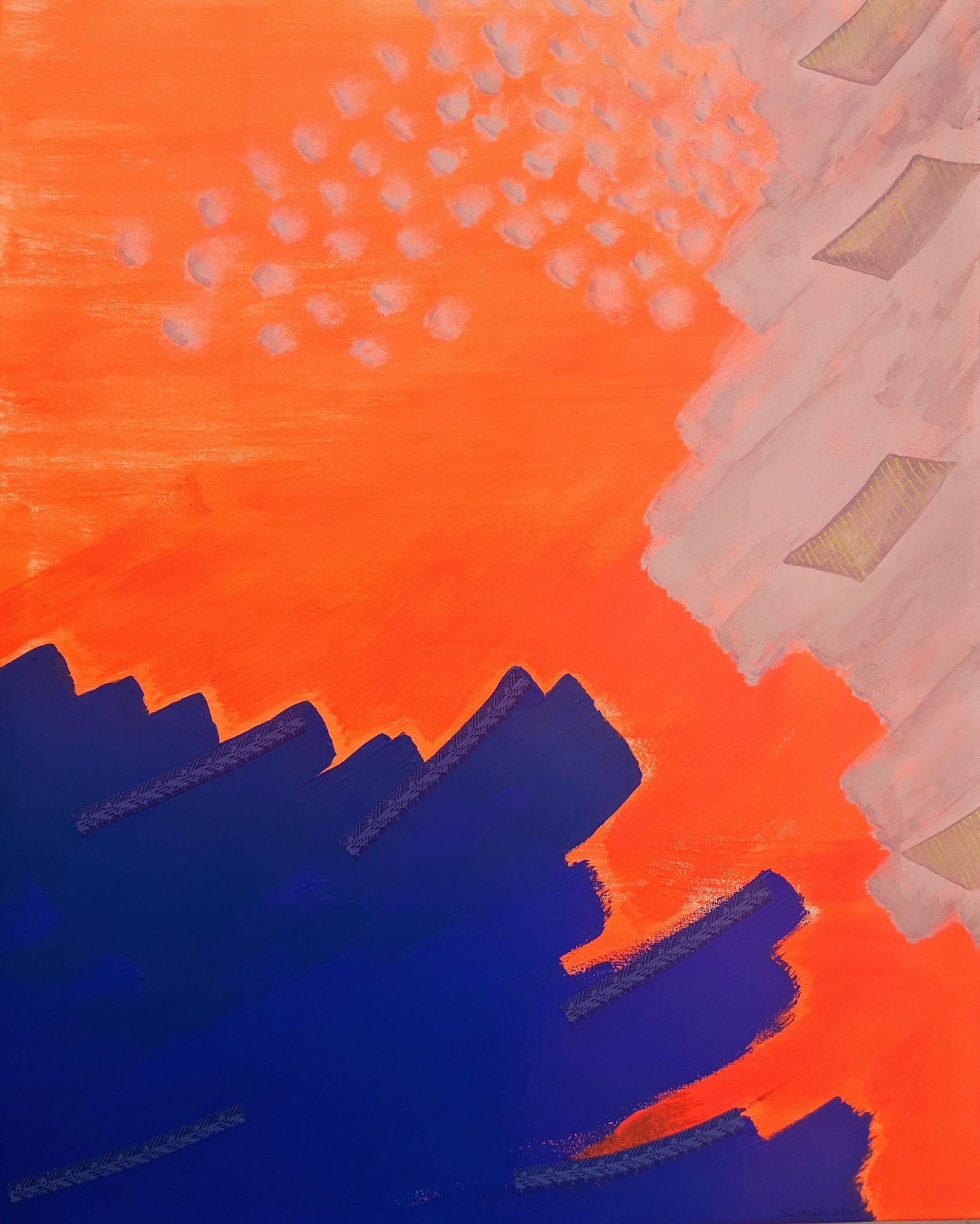 Acryl, Titel: ' A choice, a seed', 80x100cm cm, 19. July 2019, Künstlerin Sige Nagels: Acryl, Stoff, Marker, auf Nachhaltigen Leinwand auf Keilrahmen aus Europaïscher Holz.